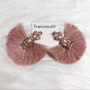 Francesca's cluster jewel rose tassel fan earrings